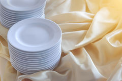Set of white dishes on buffet table. Food concept Royalty Free Stock Photography
