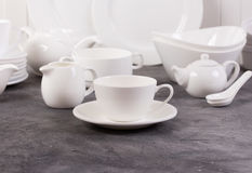 Set of white dishes Stock Photography