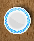 Set of white dishes on a wooden Stock Photos