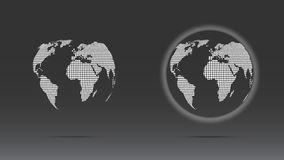 Set of white dotted globe. Set of white dotted world globe  on dark background Royalty Free Stock Photo