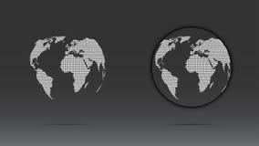 Set of white dotted globe Stock Photos