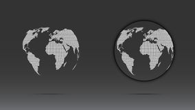 Set of white dotted globe. Set of white dotted world globe isolated on dark background Stock Photos