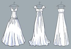 A set of the white dresses for a celebration. Vector image of the various models of white dresses in the vintge style royalty free illustration