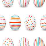 Set of white Easter eggs seamless pattern. simple pink, orange, red, blue stripes, patterns points, confetti, waves Royalty Free Stock Photography
