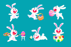 Set of white easter rabbit in different poses Royalty Free Stock Image