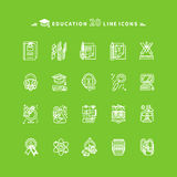 Set of White Education Icons on Green Background Stock Images
