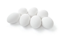 Set of white eggs isolated Royalty Free Stock Photos
