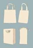 Set white empty shopping bag Royalty Free Stock Photography