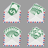 Set of white Envelope with money inside Royalty Free Stock Images