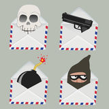 Set of white Envelope with Skull,gun,bomb and Thief inside Stock Photography
