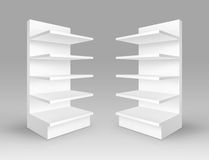 Set of White Exhibition Trade Stands with Shelves Stock Photography