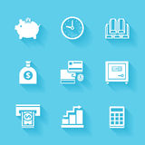 Set of white finance and money icons. Vector money tuff in flat modern style with shadows Stock Photo