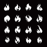 Set of white fire icon. S. Graphic element Stock Images