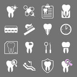 Set of white flat dental icons. Stock Photos