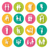 Set of 16 white flat icons. Illustrating different relationships between people in society and family in bright multi-colored circles with slanting shadows Royalty Free Stock Images