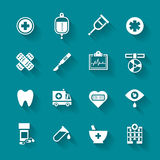 Set of white flat  medical icons. Royalty Free Stock Photography
