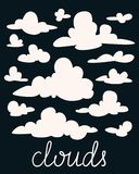 Set of white fluffy clouds on black background. Vector illustration in flat cartoon style. Royalty Free Stock Photos