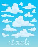 Set of white fluffy clouds on blue sky background. Vector. Stock Image