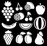 Set white fruit silhouette Stock Images