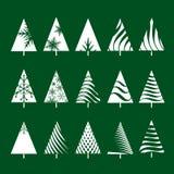 Set of White Geometric Christmas Tree. Vector Illustrations Stock Photos