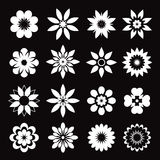 Set of white geometric flowers Royalty Free Stock Photos