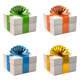 Set of white gift boxes Stock Photography