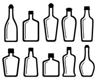 Set white glass alcohol bottles Royalty Free Stock Images