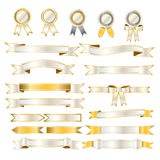 Set of white and gold ribbon Royalty Free Stock Photo