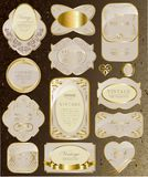 Set of white and gold ribbon Stock Photos