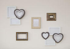 Set of white and golden vintage antique frames Royalty Free Stock Images