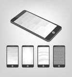 Set of white and gray vector backgrounds on smartphone layout.  Royalty Free Stock Photo