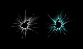 Set of White Green Crack Glass Window Crack with Sharp Edges on Dark Black Background Royalty Free Stock Photos