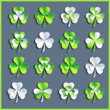 Set of white and green 3d Patricks leaf clover Stock Photo