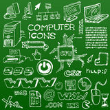 Set of white hand-drawn computer icons