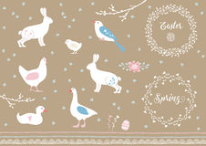 Set of white hand drawn Easter and spring elements. Farm animals, flowers and decorative borders. Vintage design Stock Photography