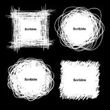 Set of White Hand Drawn Scribble Shapes Stock Image