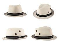 Set of white hats. Set of white modern men hat isolated on white Stock Image
