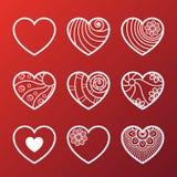 Set of White Heart Icons Stock Photo