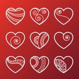 Set of White Heart Icons Stock Photos
