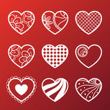 Set of White Heart Icons Stock Images