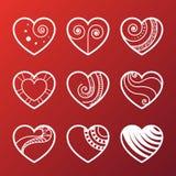 Set of White Heart Icons Royalty Free Stock Photo