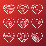 Set of White Heart Icons Royalty Free Stock Photography