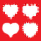 Set of white Hearts Halftone icons on red background. Valentine' Royalty Free Stock Image