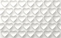 Set of white hearts isolated on white. 3d render. Ing Royalty Free Stock Photography