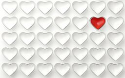 Set of white hearts with one red isolated on white. 3d render. Ing Royalty Free Stock Photos