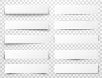 Set of white horizontal paper banners with different realistic shadows Stock Photo