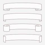 Set of white horizontal scrolls. Royalty Free Stock Photo