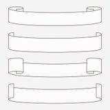 Set of white horizontal scrolls. Royalty Free Stock Photography