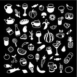 Set of 60 white icons of different types of cookware on black ba. Ckground. Vector illustration for your cute design Royalty Free Stock Photos