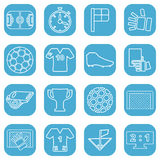 Set of white icons about football. On a white background Royalty Free Stock Images